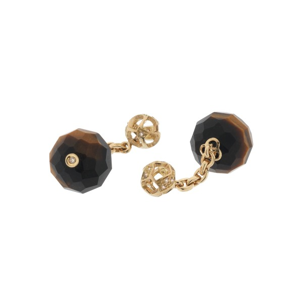 Fu 8 Cufflinks with Yellow Tiger Eye