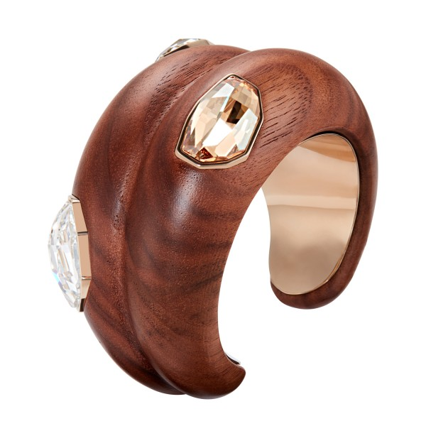 Large Wood Cuff in Gold by Fiona Kotur