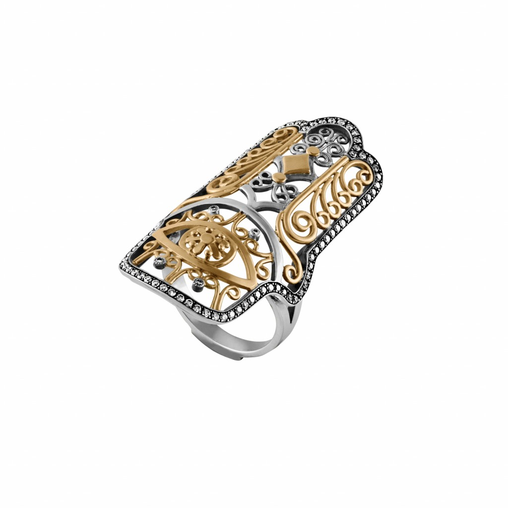Hand of Fatima Ring with Pave Diamonds by Azza Fahmy