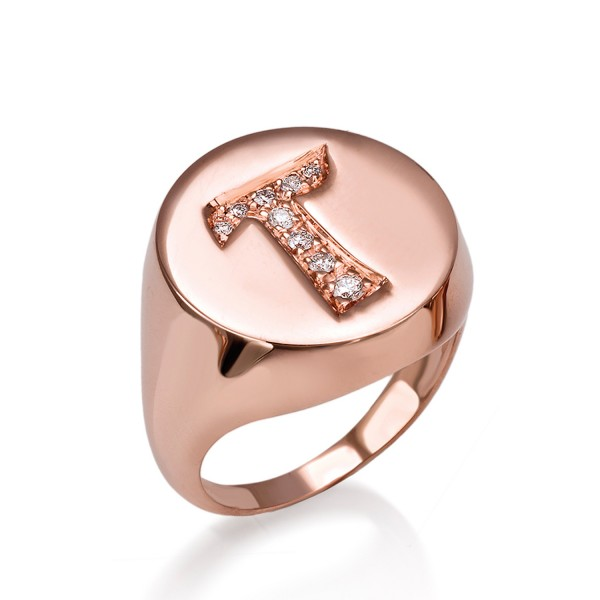 Bespoke Initial Ring with White Diamonds by Assya