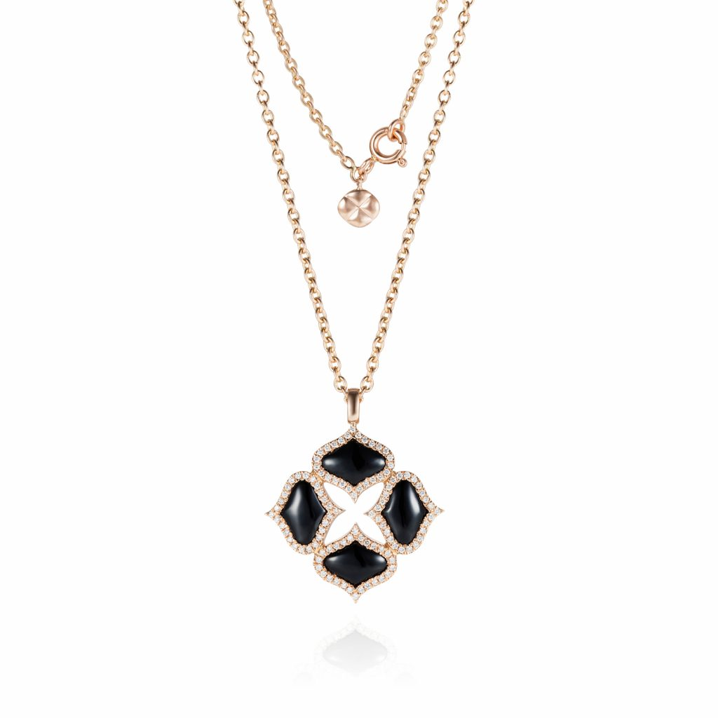 Black Onyx Pendant with Chain in Rose Gold by Gyan Jewels