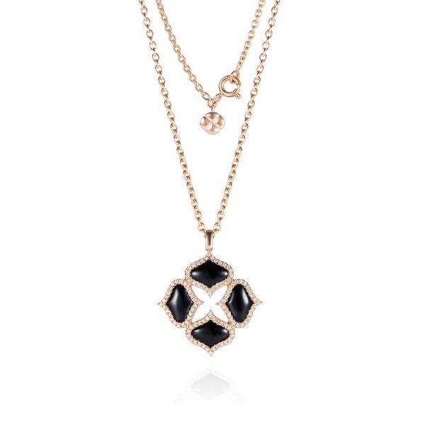 Black Onyx Pendant with Chain in Rose Gold