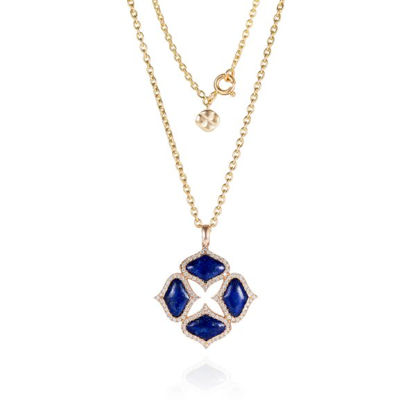 Lapis Pendant with Chain in Yellow Gold by Gyan Jewels