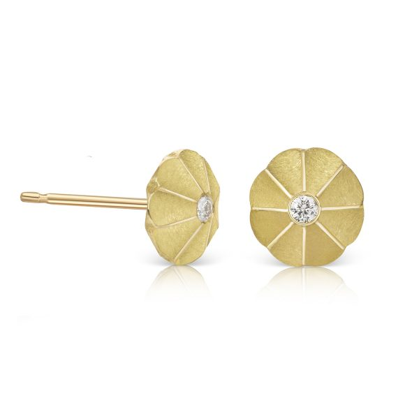 Aditi Lotus Drop Studs by Flora Bhattachary