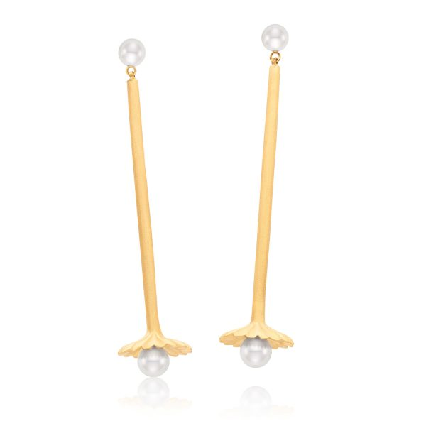 Aditi Lotus Drop Pearl Earrings by Flora Bhattachary