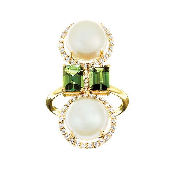 Elle et Lui Green Double Pearl Ring by Nadine Aysoy
