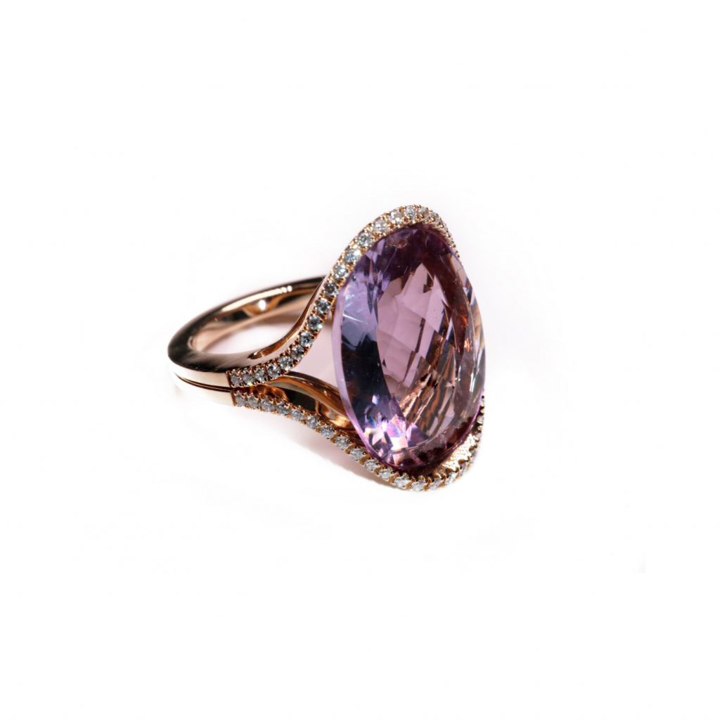 Moritz Amethyst and White Diamond Ring by Olivia Grace
