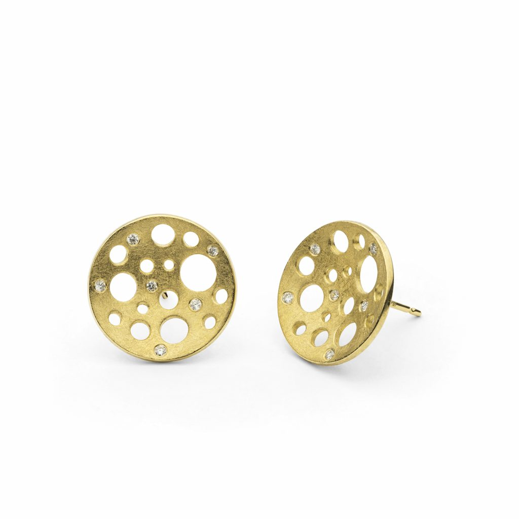 Golden Round Moon Studs by Muscari