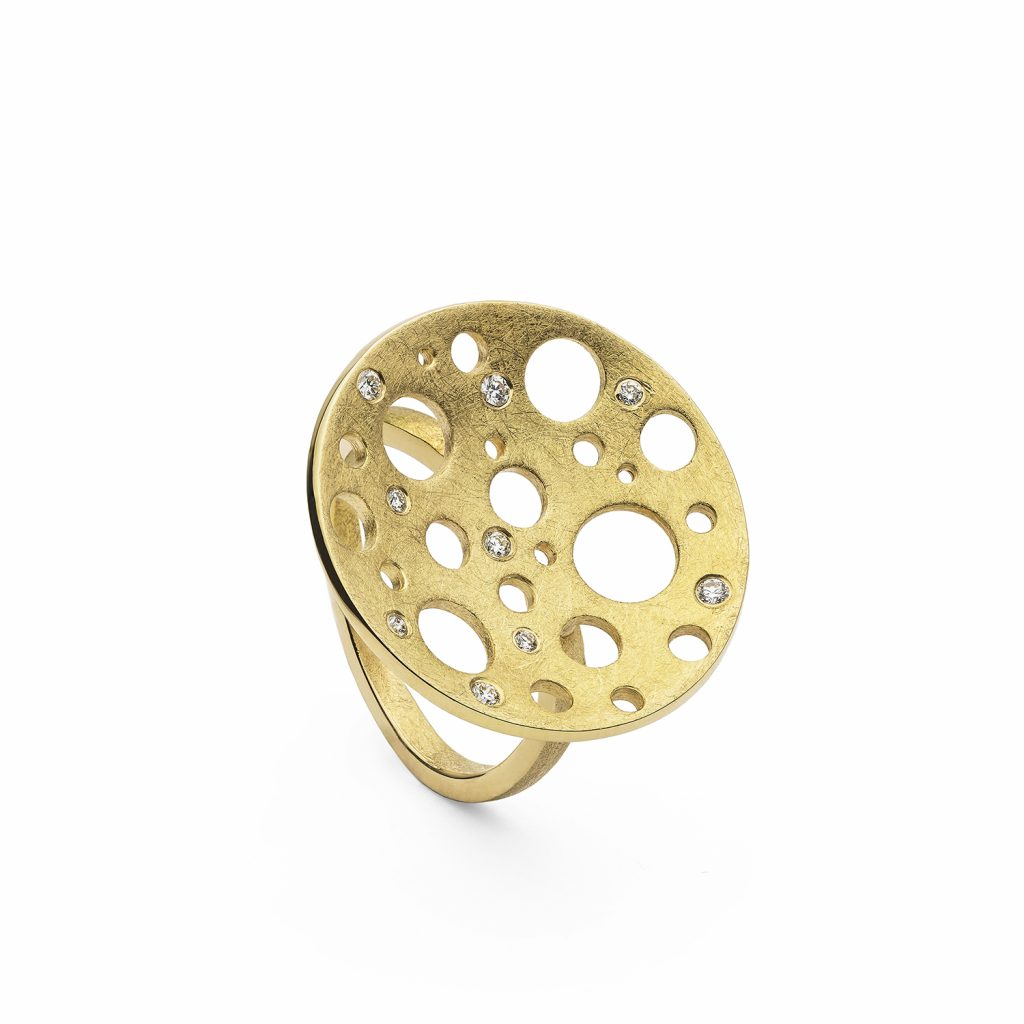 Golden Round Moon Ring by Muscari