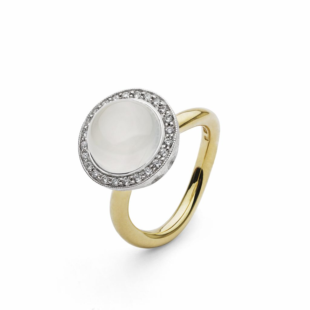 Half White Moon Ring
