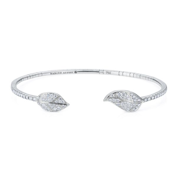 Petites Feuilles White Gold Bracelet by Nadine Aysoy