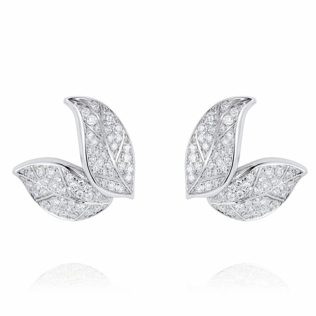 Petites Feuilles White Gold Earring Studs by Nadine Aysoy