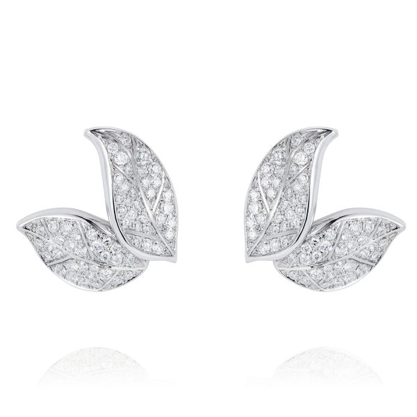 Petites Feuilles White Gold Earring Studs