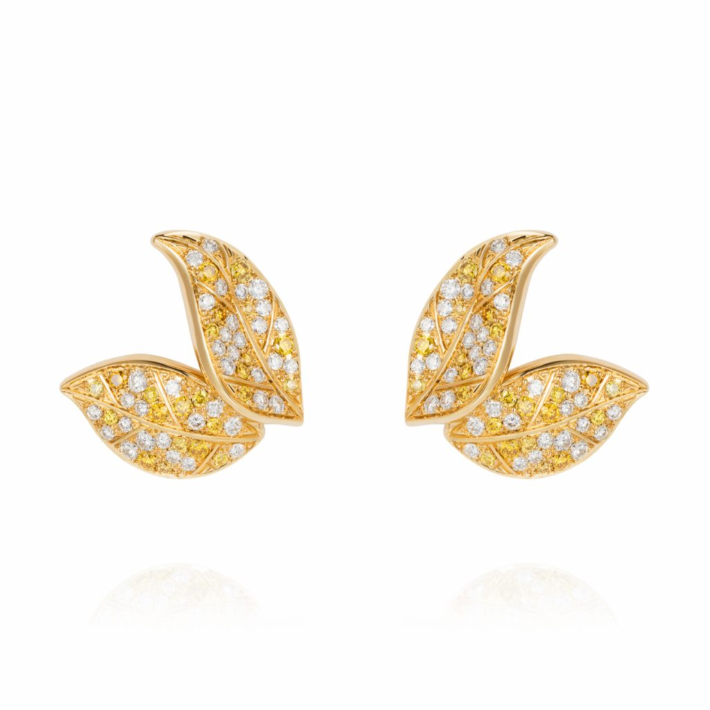 Petites Feuilles Gold Earring Studs by Nadine Aysoy