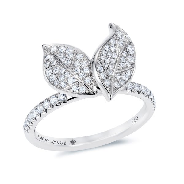 Petites Feuilles White Gold Ring by Nadine Aysoy