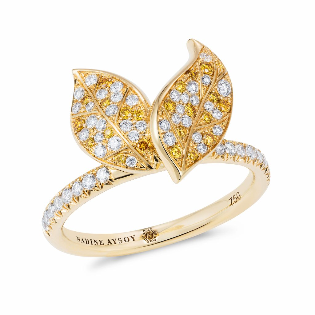 Petites Feuilles Gold Ring by Nadine Aysoy
