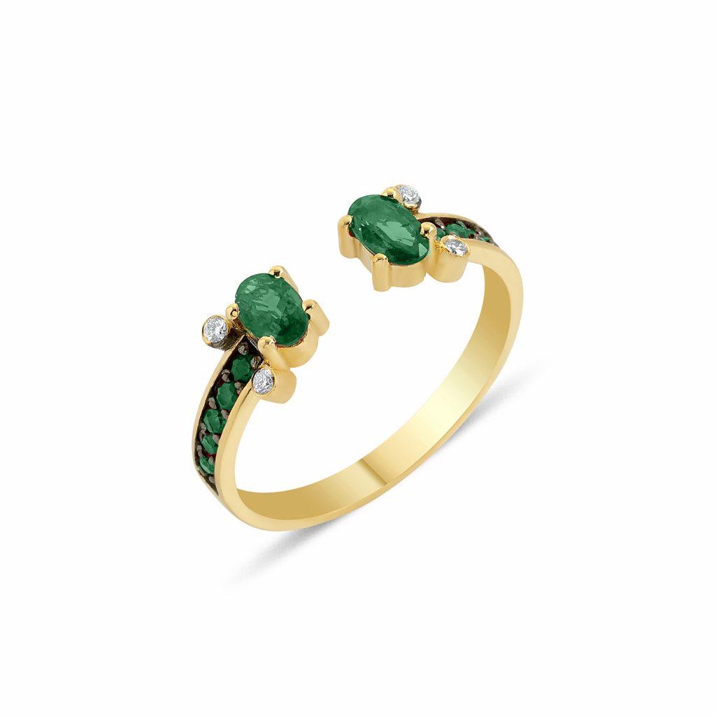 Seraphina Emerald Angel Ring by GFG Jewellery