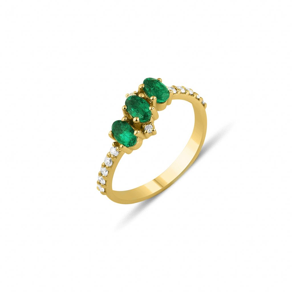 Seraphina Emerald Trio Ring by GFG Jewellery