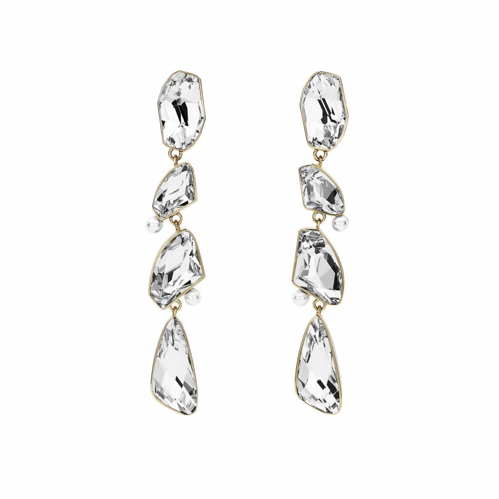 Mosaic Long Drop Clip Earrings