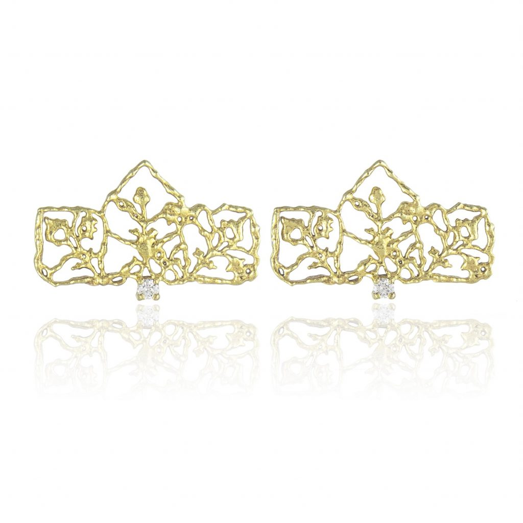 Diamond Petal Studs by Natalie Perry