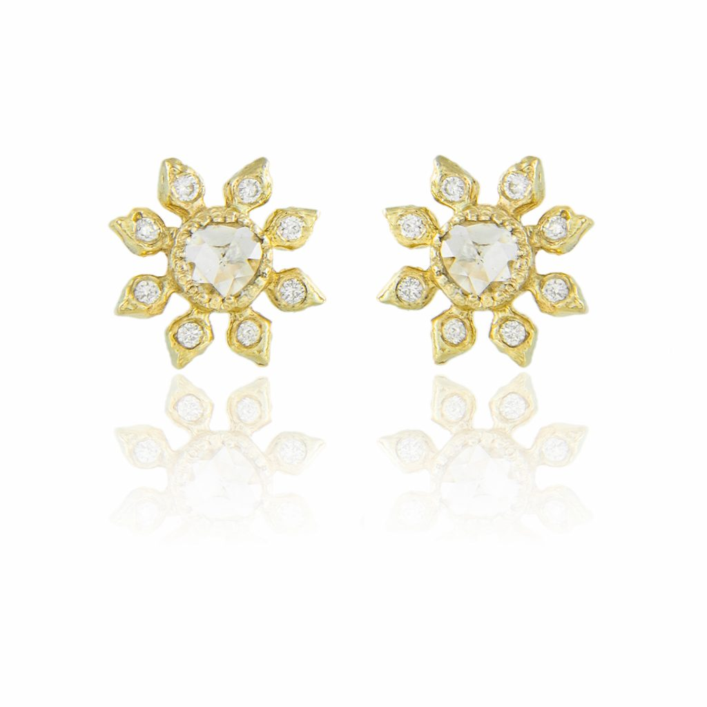 Diamond Flower Studs by Natalie Perry