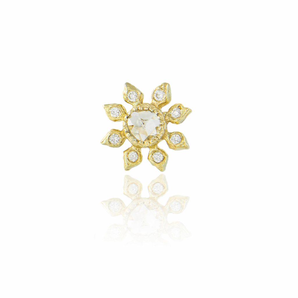 Single Diamond Flower Stud Earring by Natalie Perry