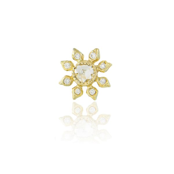 Single Diamond Flower Stud Earring by Natalie Perry