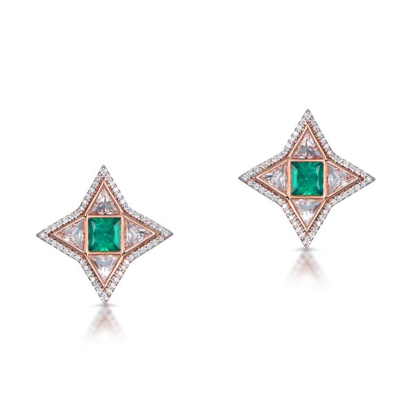 Trinity Studs in Rose Gold with Emerald by Leyla Abdollahi