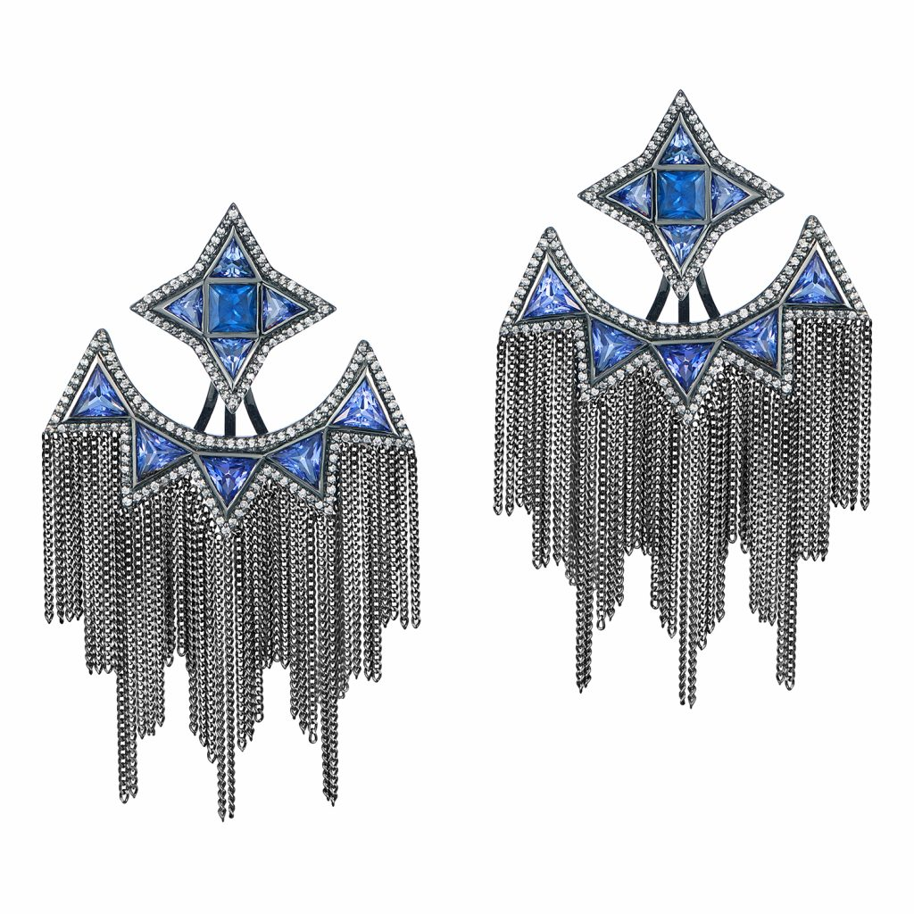 Trinity Studs with Ear Jackets in Black Gold by Leyla Abdollahi