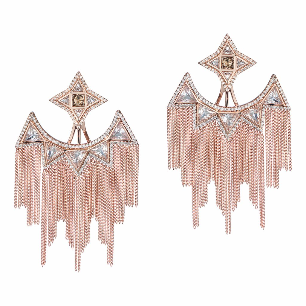 Trinity Studs with Ear Jackets in Rose Gold by Leyla Abdollahi