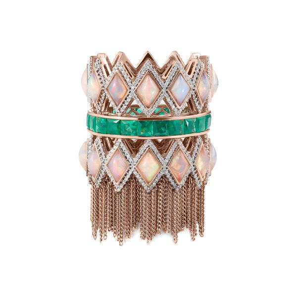 Trinity Ring in Rose Gold with Emerald by Leyla Abdollahi