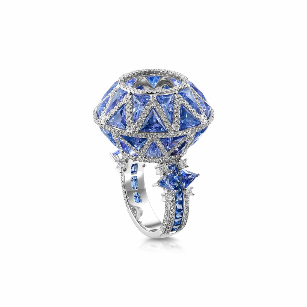Trinity Cocktail Ring with Blue Sapphire by Leyla Abdollahi