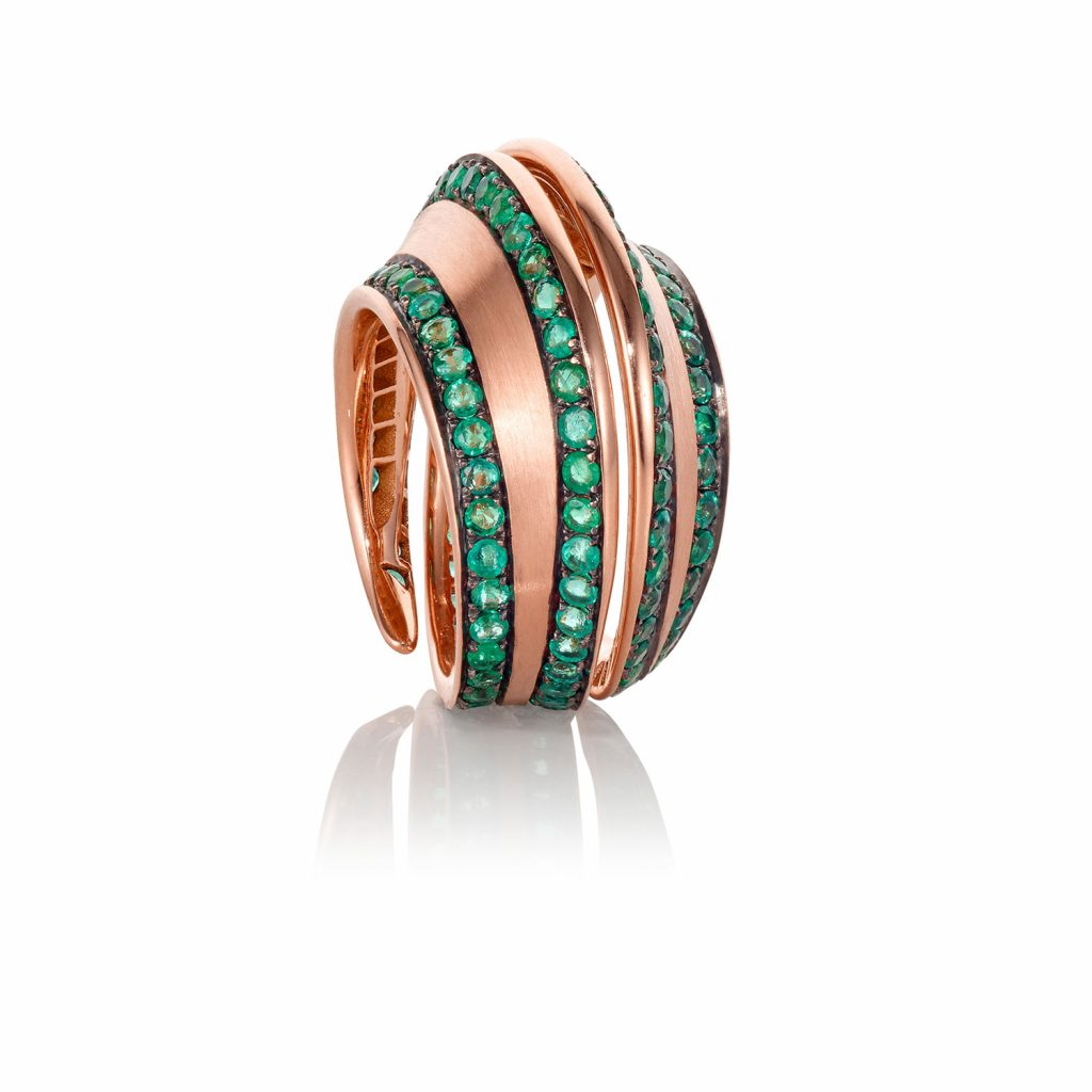 Striped Spira Ring with Emeralds by Lily Gabriella