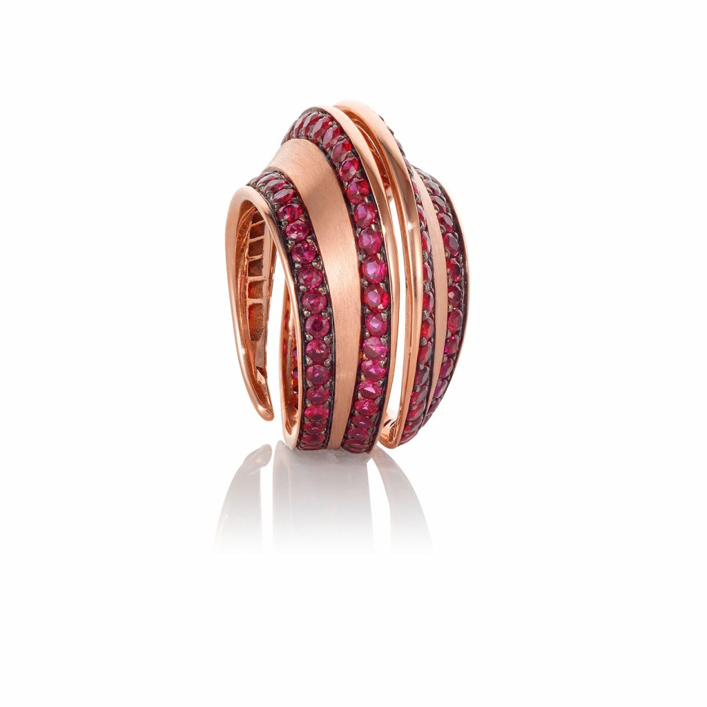 Striped Spira Ring with Rubies by Lily Gabriella