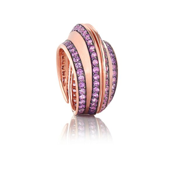 Striped Spira Ring with Pink Sapphires by Lily Gabriella
