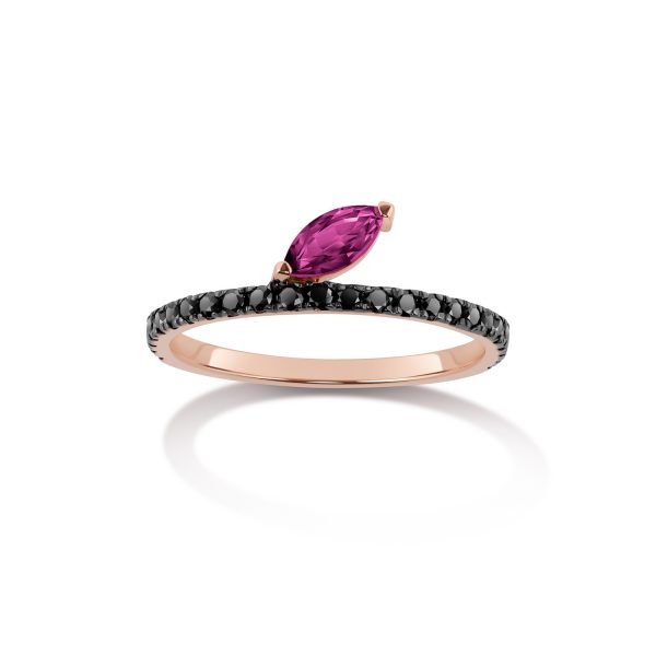 Defne Pave Ring with Ruby and Black Diamonds by Selin Kent