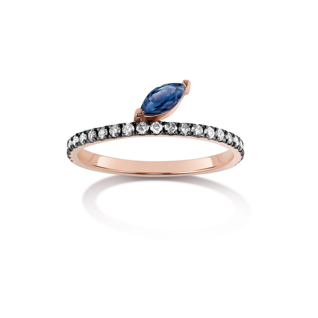 Defne Pave Ring with Sapphire Marquise and Grey Diamonds by Selin Kent