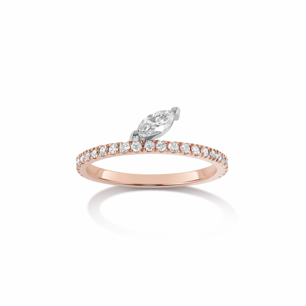 Defne Pave Ring with Diamond Marquise by Selin Kent