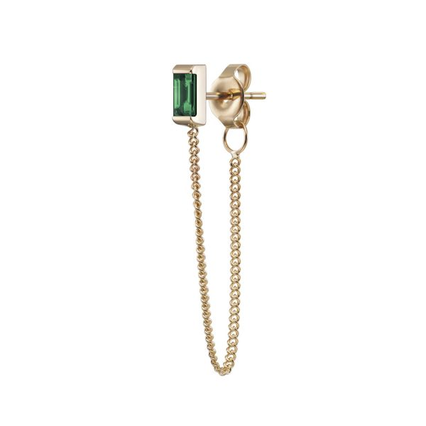 Galana Chain Stud with Emerald by Selin Kent