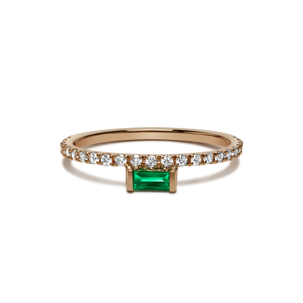 Nikita Ring with White Diamonds and Emerald by Selin Kent