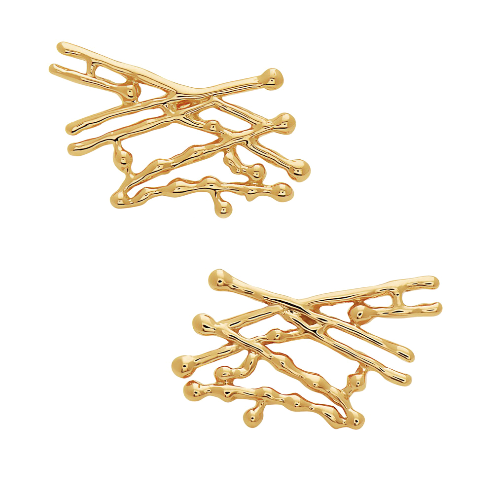 Cross Splatter Earrings – Gold by Swati Dhanak