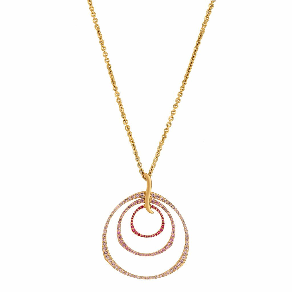 Ombre Rose Triple Hoop Pendant Necklace by Sandy Leong