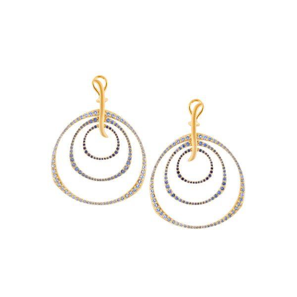 Ombre Sapphire Triple Hoop Earrings by Sandy Leong