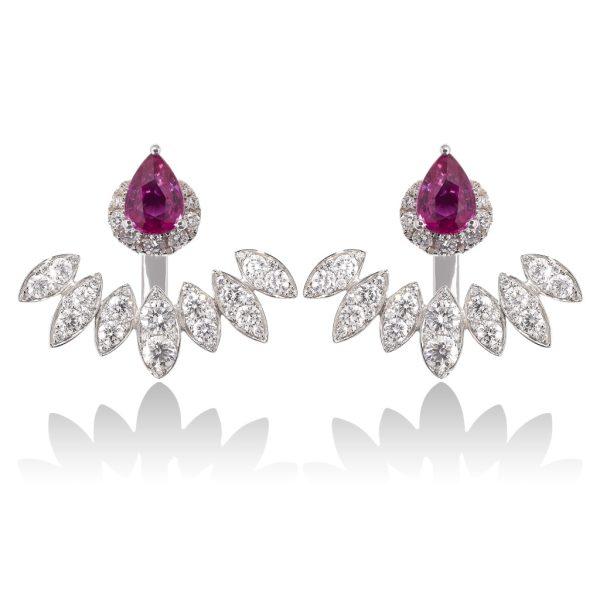 Diya Pink Sapphire and Diamond Ear Jackets by Vara Of London