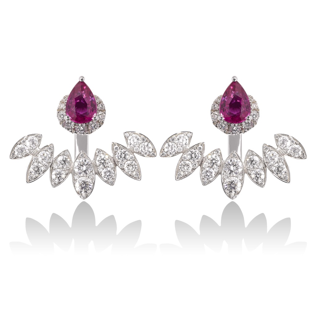 Diya Pink Sapphire and Diamond Ear Jackets by Vara Of London