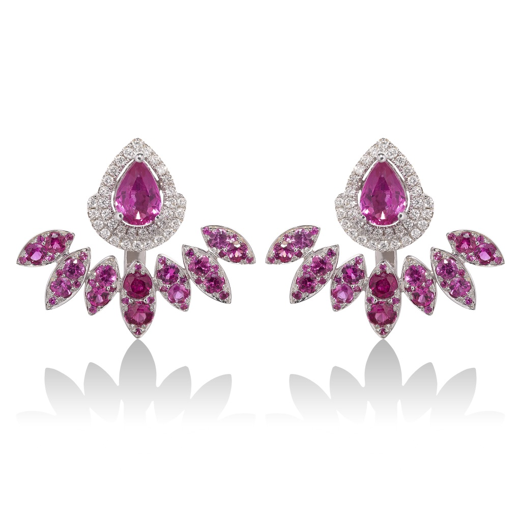 Diya Pink Sapphire and Pink Sapphire Ear Jackets by Vara Of London