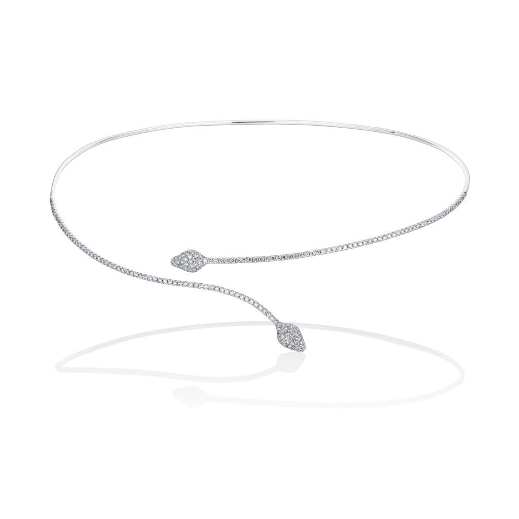 Serpentina Linea Necklace White Gold by Vara Of London