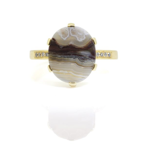 Oval Lace Agate and Diamond Ring by Sorrel Bay