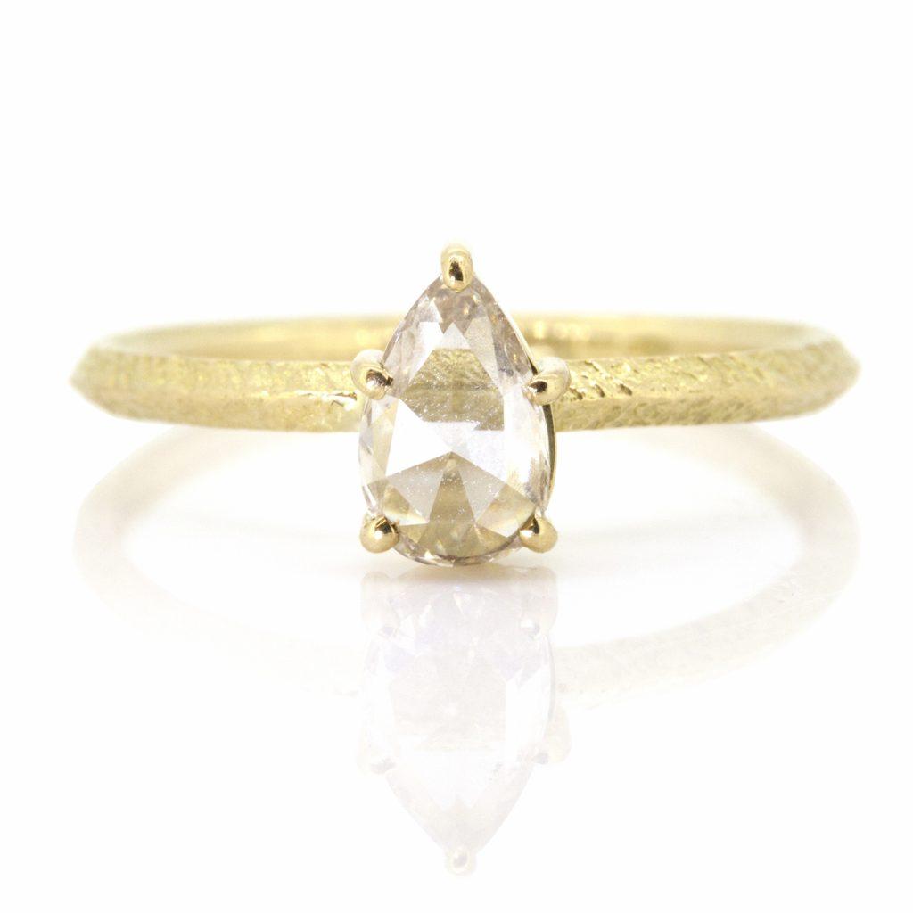 Pear Rose Cut Diamond Claw Ring by Sorrel Bay