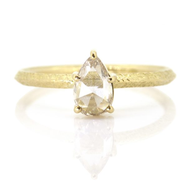 Pear Rose Cut Diamond Claw Ring by Sorrel Bay
